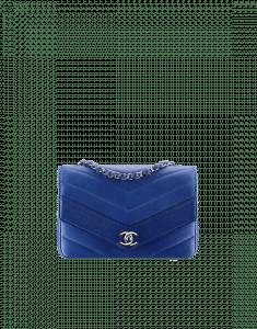 Chanel Blue Medium Chevron Flap Bag