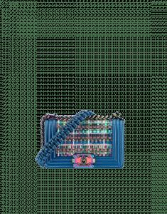 Chanel Blue PVC Thread and Lambskin Small Boy Chanel Flap Bag