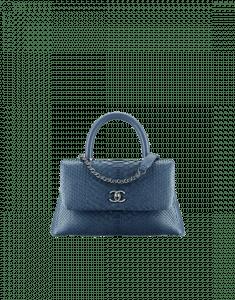 Chanel Blue Python Mini Coco Handle Bag