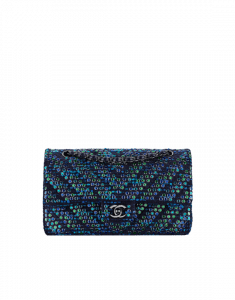 6cb05783e7bc Chanel Blue/Navy Blue/Turquoise Embroidered Tweed/Lambskin Medium Classic  Flap Bag