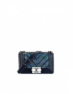 Chanel Blue/Navy Blue/Turquoise Embroidered Tweed/Lambskin Small Boy Chanel Flap Bag