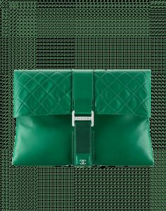 Chanel Dark Green Grip Bag Clutch Bag