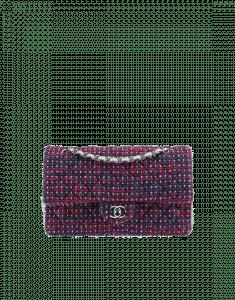 Chanel Dark Purple/Red/Silver Tweed/Lambskin Medium Classic Flap Bag