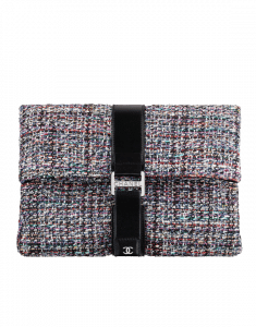Chanel Ecru/Red/Green/Blue Tweed Grip Bag Clutch Bag