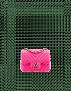 Chanel Fuchsia Chevron Mini Classic Flap Bag