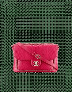 Chanel Fuchsia Python CC Unchained Flap Bag