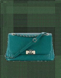 Chanel Green Grained Calfskin Flap Bag