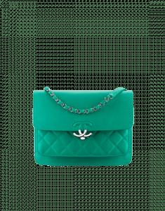 Chanel Green Grained Calfskin Large Flap Bag