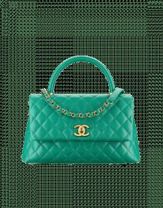 Chanel Green Small Coco Handle Bag