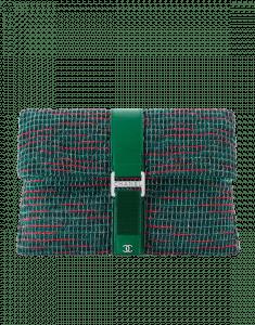 Chanel Green/Red/Blue Tweed Grip Bag Clutch Bag