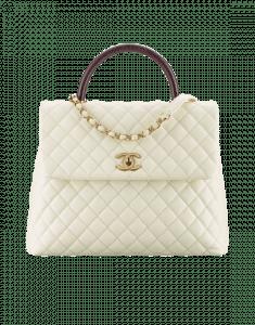 Chanel Ivory/Burgundy Calfskin/Lizard Large Coco Handle Bag