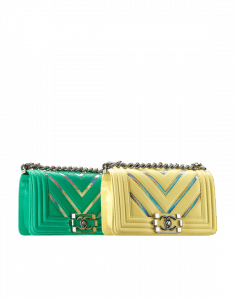 Chanel Light Green and Yellow Lambskin with Iridescent PVC Small Boy Chanel Flap Bag