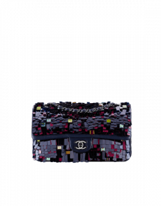 Chanel Navy Blue Embroidered Lambskin Medium Classic Flap Bag