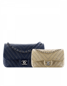 Chanel Navy Blue Medium and Gold Small Stud Wars Flap Bags