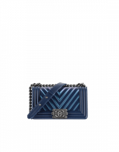 Chanel Navy Blue Painted Embossed Chevron Small Boy Chanel Flap Bag