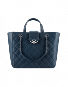 Chanel Navy Blue Quilted Calfskin Small Shopping Bag