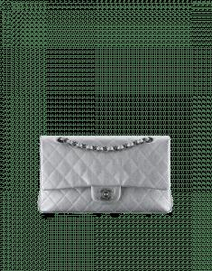 Chanel Silver Medium Classic Flap Bag