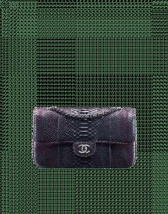 Chanel Silver/Pink Python Medium Classic Flap Bag