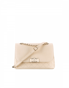 Chanel White Grained Calfskin Small Flap Bag