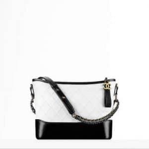 Chanel White/Black Gabrielle Hobo Bag
