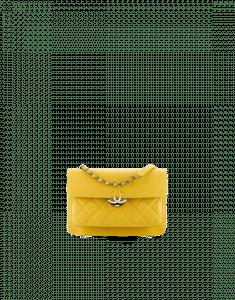 Chanel Yellow Grained Calfskin Medium Flap Bag