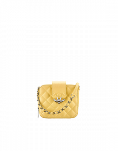 Chanel Yellow Quilted Lambskin Mini Camera Case Bag