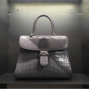 Delvaux Gray Alligator Brillant Bag