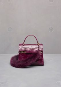 Delvaux Prune Alligator Tempete MM with Fox Fur Bandouliere Bag