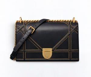 Dior Black Studded Diorama Flap Bag