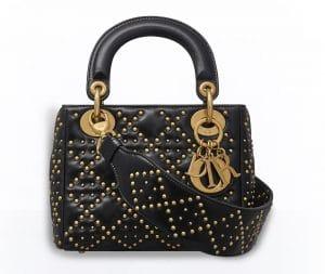 Dior Black Studded Mini Supple Lady Dior Bag