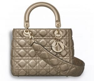 Dior Light Gold Metallic Supple Lady Dior Bag