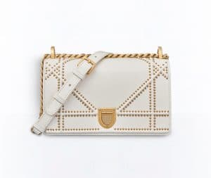 Dior Off-White Studded Small Diorama Flap Bag