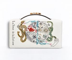 Dior Off-White The Wheel of Fortune Card Embroidered Tarot Pouch Bag
