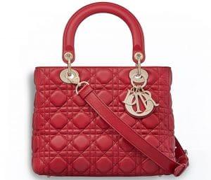 Dior Red Supple Lady Dior Bag