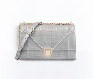 Dior Silver-Tone Metallic Small Diorama Flap Bag