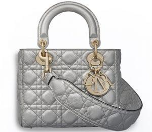 Dior Silver-Tone Metallic Supple Lady Dior Bag