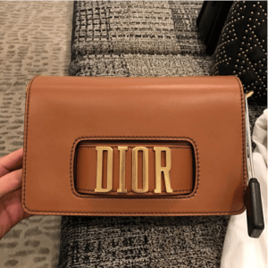 Dior Tan Pouch Bag with Slot Handclasp