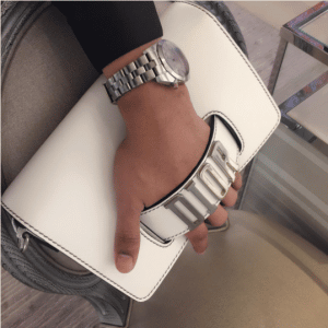 Dior White Flap Bag with Slot Handclasp 5