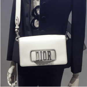Dior White Flap Bag with Slot Handclasp 6