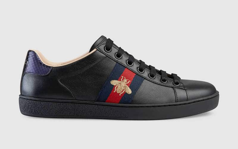 6d52caab33f Gucci Black Bee Embroidered Leather Ace Low Top Sneaker