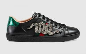 Gucci Black Crystal Snake Embroidered Ace Low Top Sneaker