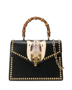 Gucci Black Studded Broche Bamboo Top Handle Bag