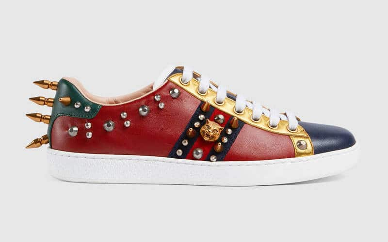 d77e2e555cd Gucci Blue Yellow Red Studded Leather Ace Low Top Sneaker