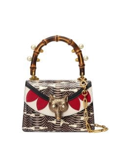 Gucci Brown/Beige Snakeskin Broche Mini Bamboo Top Handle Bag