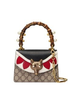 Gucci Neutral/Multicolor GG Supreme Broche Mini Bamboo Top Handle Bag