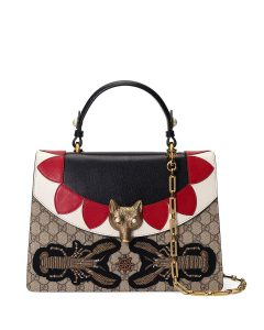 Gucci Neutral/Multicolor GG Supreme Broche Top Handle Bag