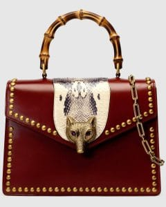 Gucci Red Studded Broche Bamboo Top Handle Bag