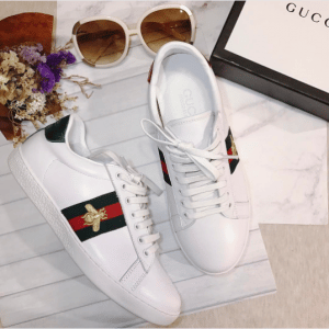 Gucci White Bee Embroidered Ace Low Top Sneaker