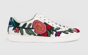 Gucci White Floral Embroidered Ace Low Top Sneaker