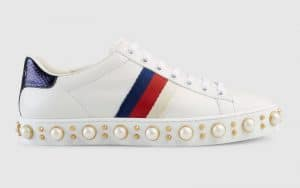 Gucci White Studded Ace Low Top Sneaker